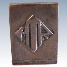 Vintage STERLING SILVER Match Book Cover - Match Holder, Match Safe, Flip Top, Hinged