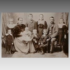 VICTORIAN Cabinet Card - Family, 8 Children, 1 Possibly Deceased, Mourning Photo