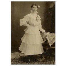 VINTAGE Photograph - The Gradute, Young Lady, Fancy Lace Dress, Flower
