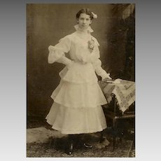 VINTAGE Photograph - The Gradute, Young Lady, Fancy Lace Dress, Flower