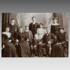 VICTORIAN Cabinet Card Photo - One Big Happy Family of 10, 7 Children, Grandmother
