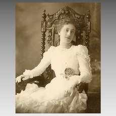 VICTORIAN Cabinet Card Photo - Young Lady, Ball Gown, Gloves, Hex Sign