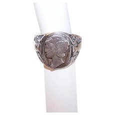Vintage STERLING SILVER Ring - Uncas, Mercury Dime, American Eagle, World War II Era