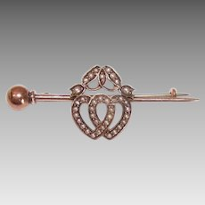 ANTIQUE VICTORIAN 9K Gold Pin - Rose Gold, Natural Pearl, Double Hearts, Sweetheart Pin