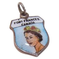 Vintage SILVERPLATE Charm - Enamel, Travel Shield, Queen Elizabeth II, Fort Frances, Canada