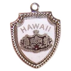 Vintage STERLING SILVER Charm - Enamel, State of Hawaii. Travel Shield