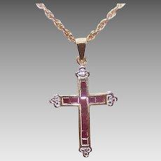 Vintage 10K GOLD Pendant - .27CT TW, Ruby, Diamond, Religious, Cross, Small Size