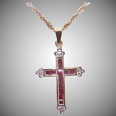 Vintage 10K GOLD Pendant - .27CT TW, Ruby, Diamond, Religious, Cross, Small Size