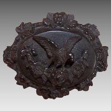 ANTIQUE VICTORIAN Mourning Pin - Black, Gutta Percha, Dove, Florals, 2 Tier