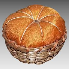 Vintage SWEET GRASS Pin Cushion - Basket, Wood, Orange Silk,  Round
