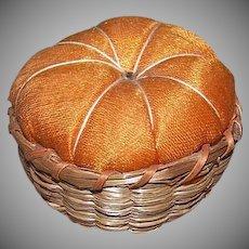 Vintage SWEET GRASS Pin Cushion - Basket, Wood, Orange Silk,  Round