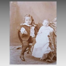 VICTORIAN Cabinet Card Photo - Big Brother, Baby Brother, Just Adorable
