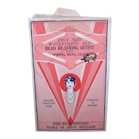 C.1930 Art Deco Bead Restringing Kit Original Card with 2 Clasps
