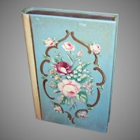 Vintage SHABBY CHIC Painted Bookend - Single with Florals, Pink, Crimson Roses