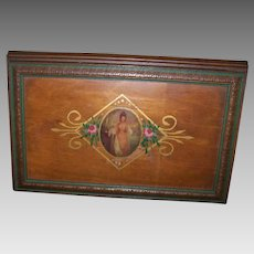 ART DECO Jewelry Box - Handpainted, Wood, Transferware, Lovely Lady, Flocked Interior