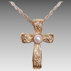 Vintage 10K GOLD Pendant - Cultured Pearl, Religious, Cross, Floral Ends