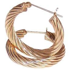 """Vintage 14K GOLD Earrings - Twisted, 1"""" Round, Pierced, 2.9 Grams, Hoop Earrings"""