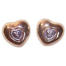 Vintage 10K GOLD Earrings - Diamond, Hearts, Pierced, Posts with Nuts - $40 Per Gram