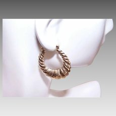 Single 14K GOLD Earring - Hoop, Scalloped, Etched, Pierced - $40 Per Gram