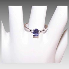 Vintage STERLING SILVER Ring - Purple, Faceted Oval Glass Paste