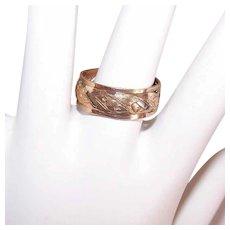 Vintage GOLD FILLED Ring - Wedding Band, Wedding Ring, Cutout, Hearts