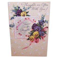 Vintage Unused Greeting Card - Colorful Pansies Thinking of You