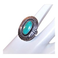 Native American Sterling Silver Natural Turquoise Ring - 7 Pointed Star