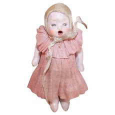 Vintage BISQUE PORCELAIN Dollhouse Baby Doll - Made in Germany, Open Mouthed, Original Clothes