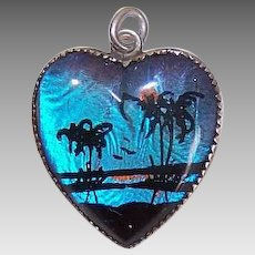 Vintage STERLING SILVER Charm - Hoffman, Butterfly Wing, Tropical Scene, Heart
