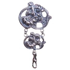 Art Nouveau STERLING SILVER Watch Fob - Floral, Lilies, Pin, Brooch