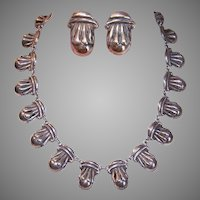 Vintage STERLING SILVER Jewelry Set - Taxco Mexico, Necklace, Earrings