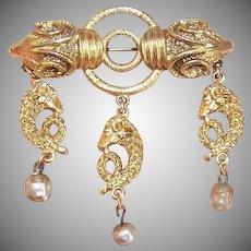 Vintage COSTUME Pin - Etruscan Revival, Rams, Gold Tone Metal