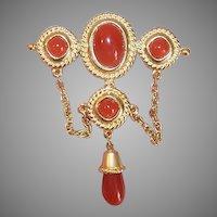 Vintage COSTUME Pin - Trifari, Gold Tone Metal, Orange Carnelian Glass