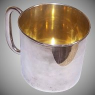 Webster Co, STERLING SILVER, Baby Cup, No Monogram, 1930s, Gold Wash Interior