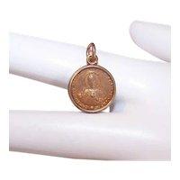 Vintage Gold Tone Metal Religious Charm Pendant Medal - Plastic Encased Sacred Heart of Jesus