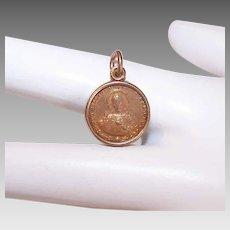 Vintage Religious Charm - Gold Tone Metal, Plastic Encased, Sacred Heart of Jesus, Medal