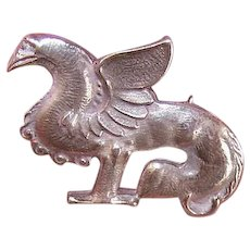 Vintage STERLING SILVER Pin - Griffin,  Mythical Creature, Brooch