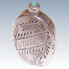 ART DECO Sterling Silver Perfume Container - Made in Mexico, Engraved Vivian