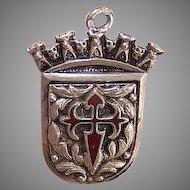 Vintage 800/900 SILVER Charm - Enamel, European, Crown, Knights Templar
