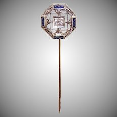 Art Deco 18K GOLD Stick Pin - Belais, Diamond, Blue Sapphire, Filigree