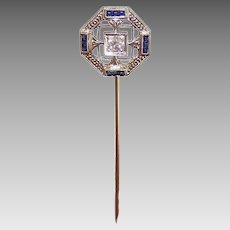 Art Deco 18K GOLD Stick Pin - Belais, Diamond, Blue Sapphire, Filigree
