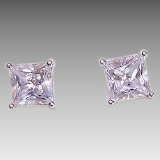 Vintage STERLING SILVER Earrings - Cubic Zirconia, CZ, 2.50CT TW, Clear, Pierced, Studs