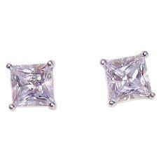 Vintage STERLING SILVER Earrings - Cubic Zirconia, CZ, 2.50CT TW, Clear, Pierced, Studs