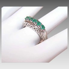 Vintage STERLING SILVER Ring - .55CT TW, Natural Emerald, Filigree, May Birthday, Size 8.5