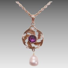 Antique Edwardian 14K GOLD Pendant - Amethyst Paste, Natural, Cultured, Pearl