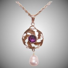 Antique Edwardian 14K Gold Pendant - Amethyst Paste, Natural and Cultured Pearls