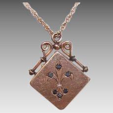 Antique Edwardian GOLD FILLED Pendant - Rhinestone, Fleur de Lis, Locket, Watch Fob