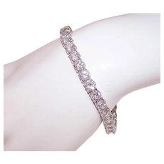 Vintage STERLING SILVER Bracelet - 18CT TW, Cubic Zirconia, CZ, Line, Tennis Bracelet