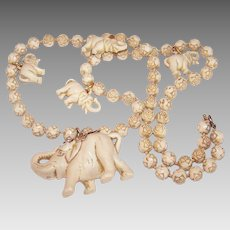 Art Deco COSTUME Necklace - Lucky Elephants, Rosebuds, Hard Plastic