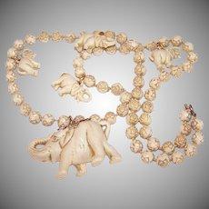 Art Deco COSTUME Necklace - Lucky Elephants, Rosebuds, Hard Plastic